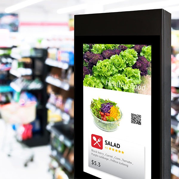 2 Intelligent Digital Signage , Augmented reality marketing and face recognition concept. Interactive artificial intelligence digital advertisement in retail hypermarket Mall.